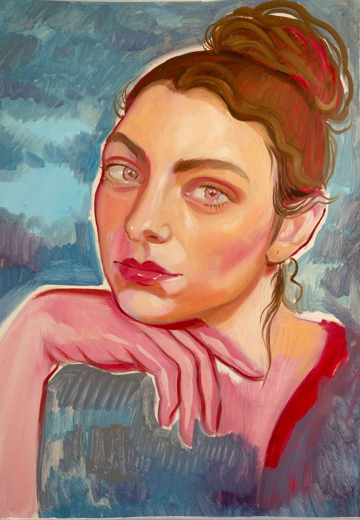 To My Twenties - Lot 4, Mary Savva, Self-Portrait (Pink Hand Pink Eyes)