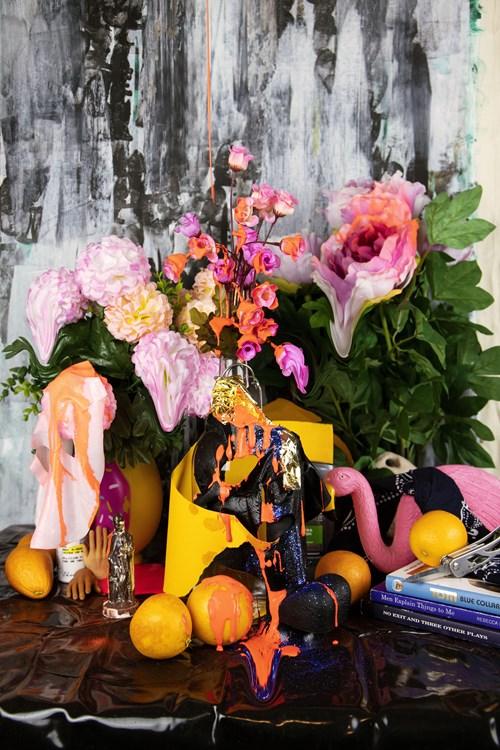 Art Fundraiser LA - Lot 1, Angel Alvarado, Still Life with Flowers...