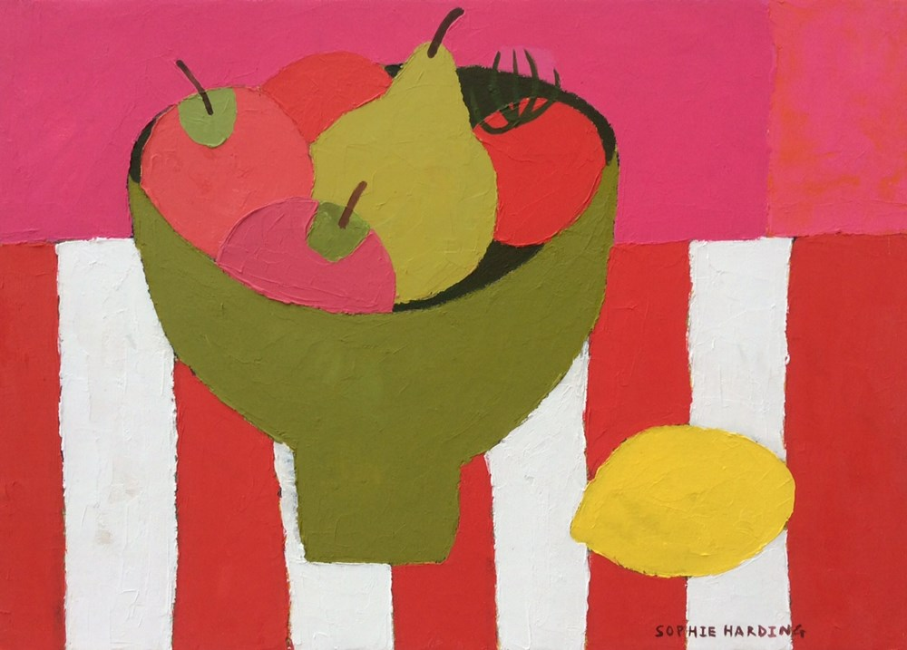 The Autumn Auction 2020 - Lot 69, Sophie Harding, Fruit Bowl on Red Stripes